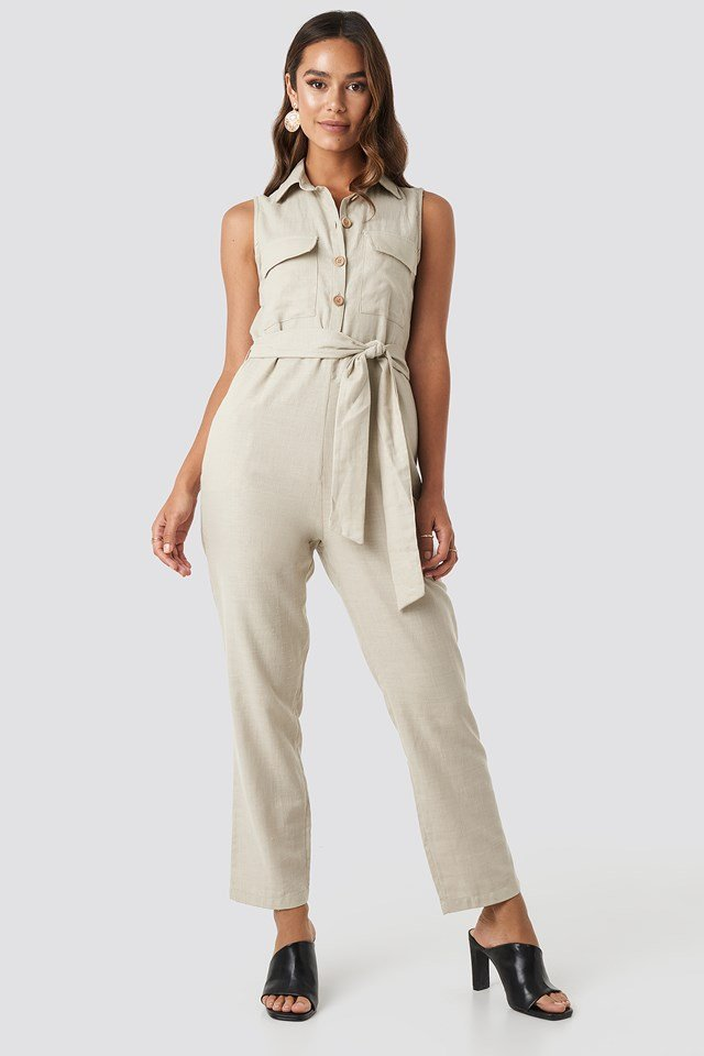 Belted Front Button Detailed Jumpsuit Beige