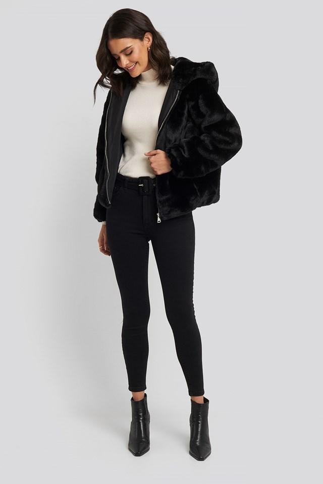 Belted High Waist Skinny Jeans Black