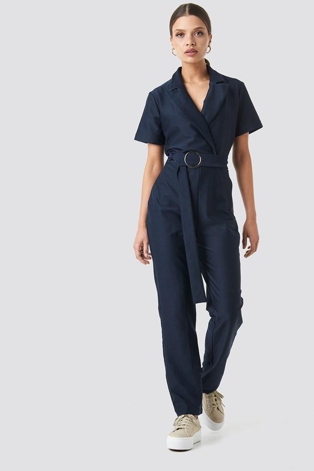 Belted Jumpsuit Navy