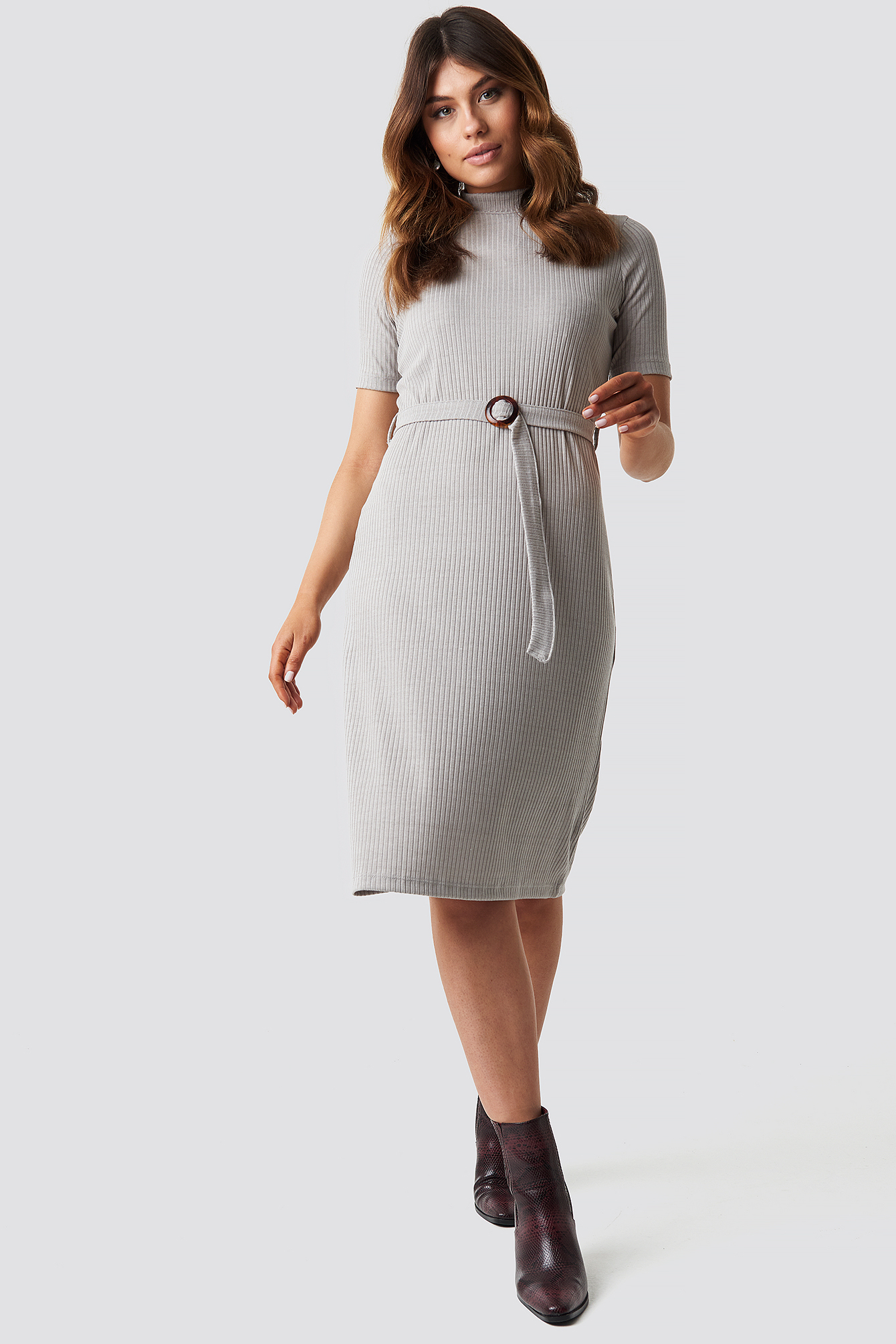 Belted Knitted Midi Dress NA-KD.COM