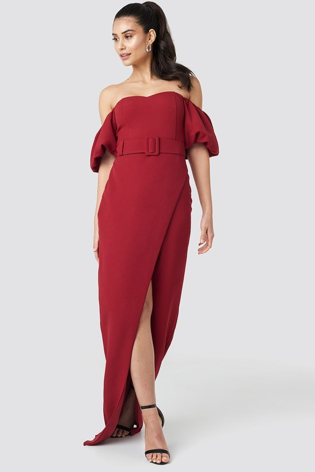 Belted Long Evening Dress Burgundy