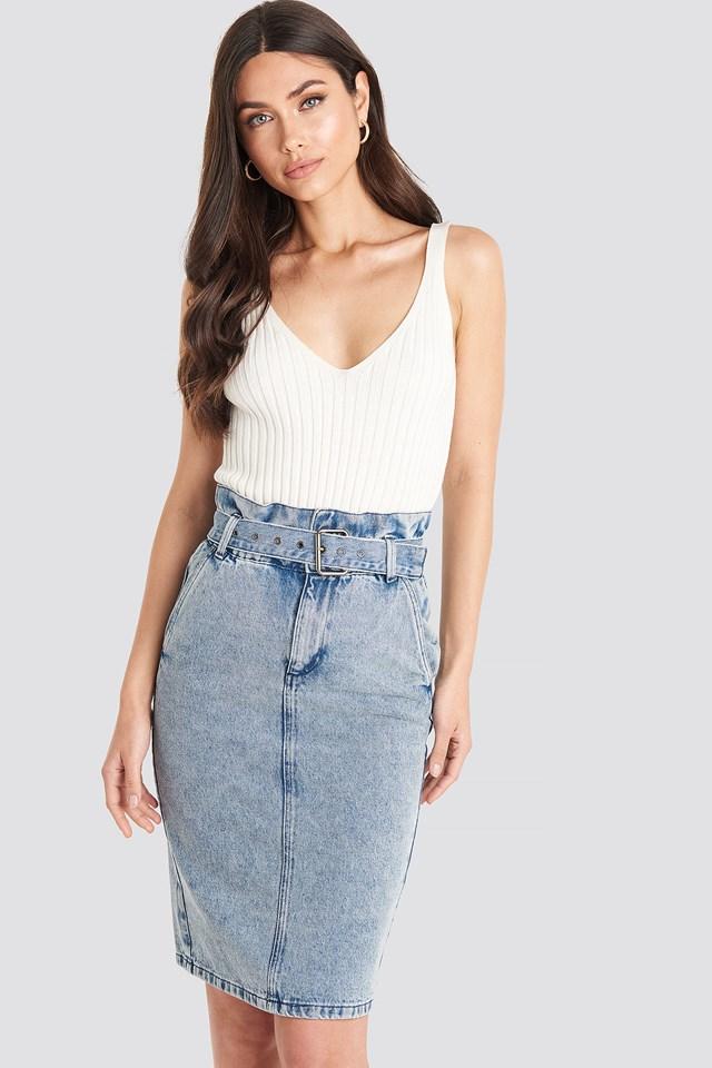 Belted Midi Denim Skirt Blue