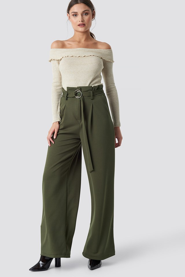 Belted Paperbag Trousers Khaki