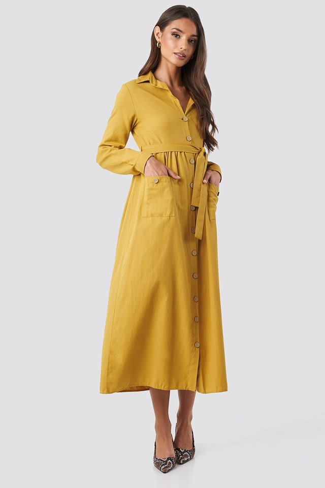 Belted Shirt Midi Dress Mustard