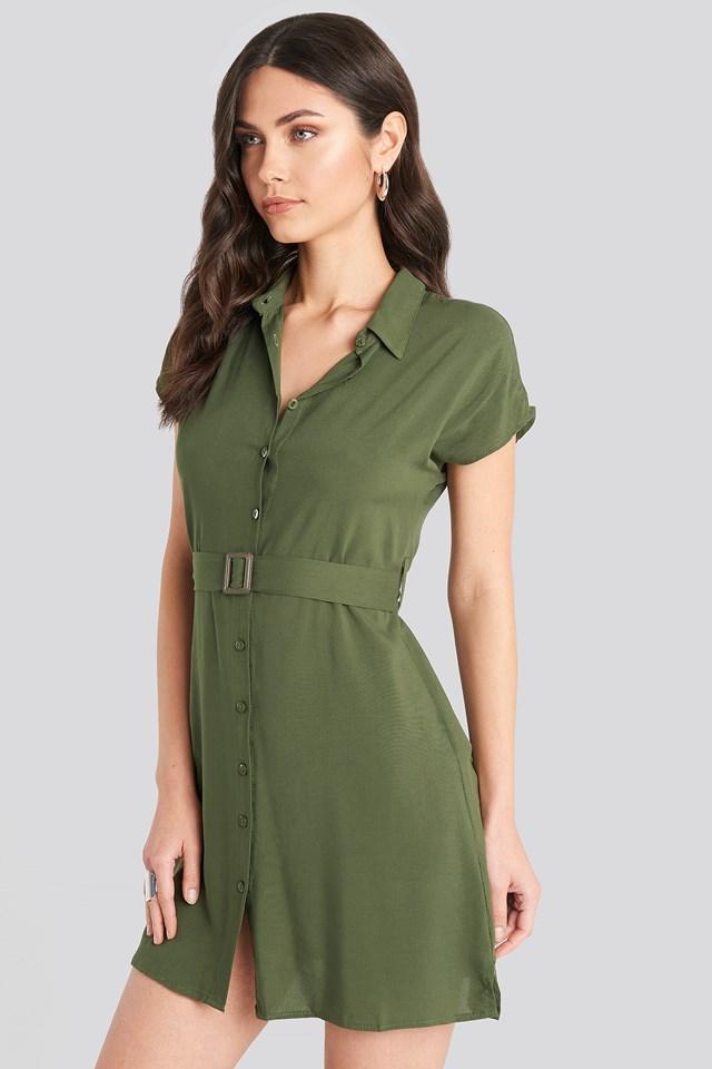 Belted Shirt Mini Dress Khaki
