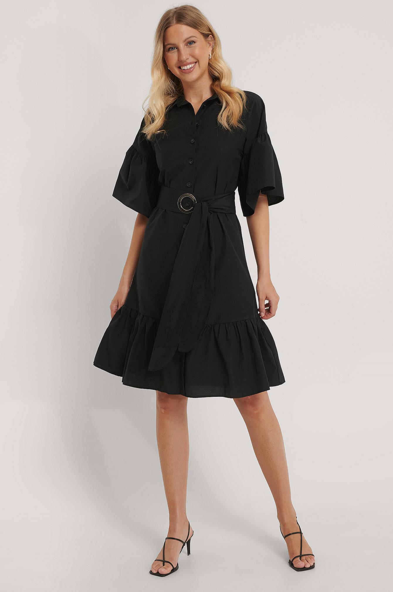 Trendyol Miniklänning I Skjortmodell Med Bälte - Black