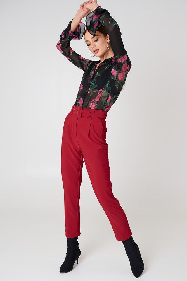 Belted Waist Trousers Red