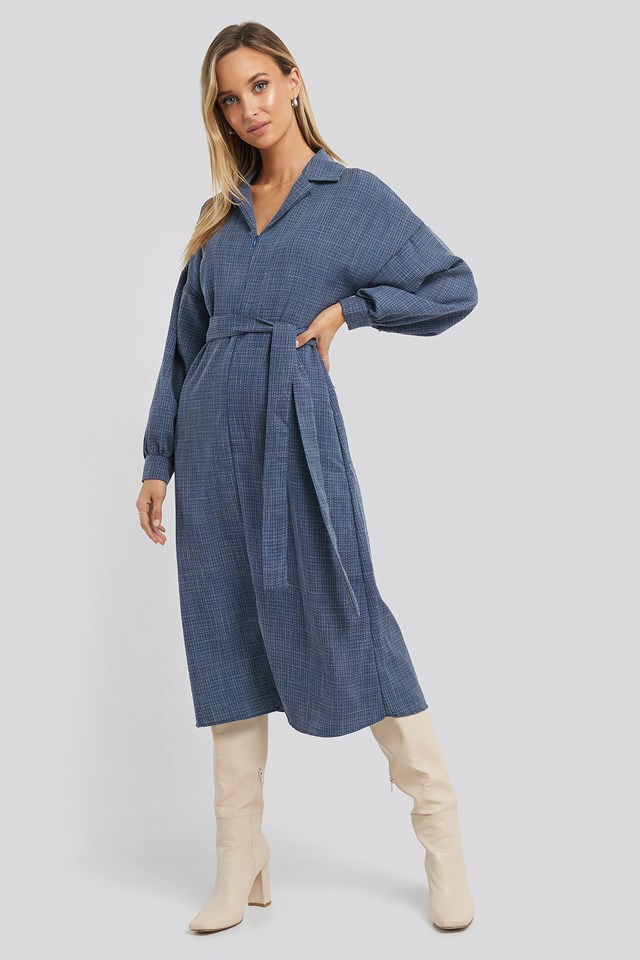 Belted Zipper Detail Midi Dress Trendyol