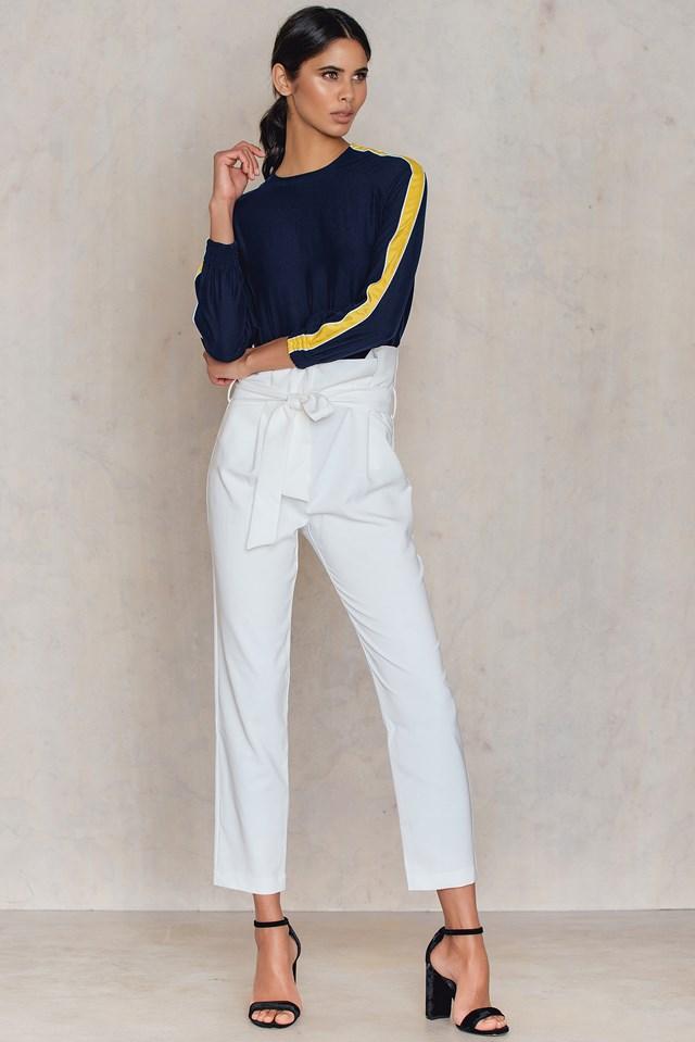 Spodnie w talii Beyaz White