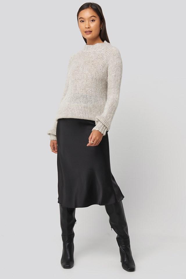 Bike Collar Knitted Sweater Ecru