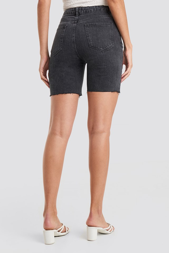 Biker Denim Shorts Black