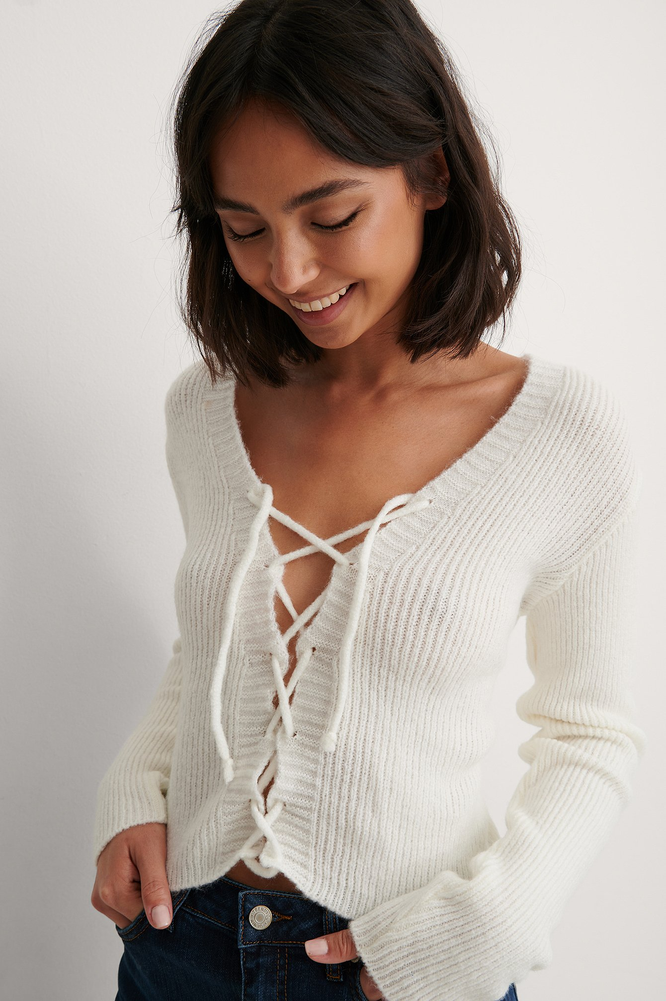 Ecru Binding Detail Knit Top