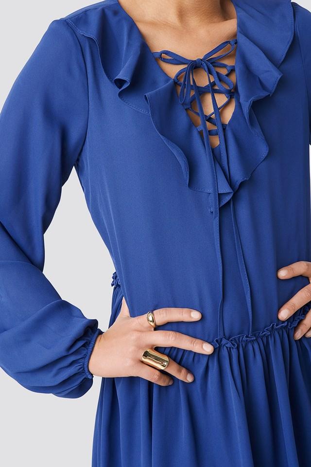 Binding Detail Frill Dress Indigo
