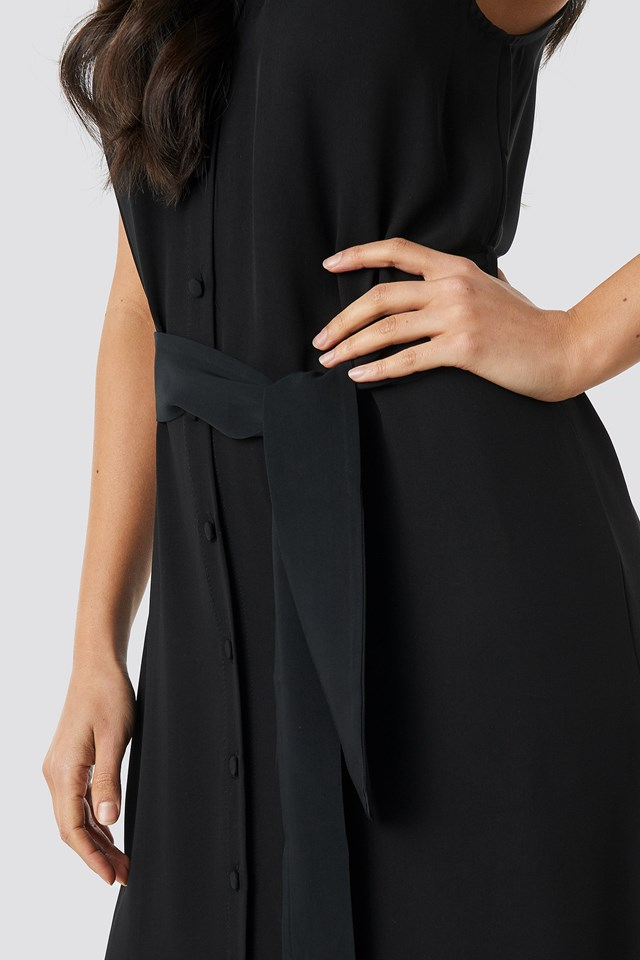 Binding Detail Midi Dress Black