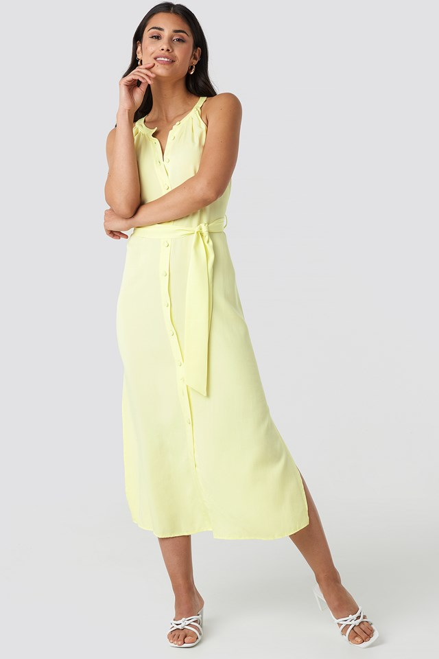 Binding Detail Midi Dress Yellow