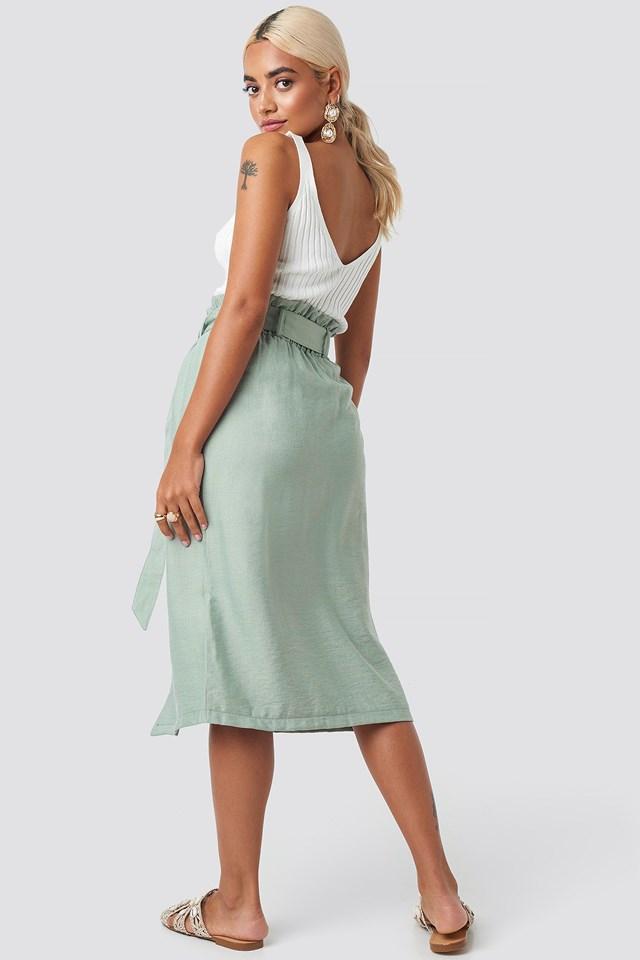 Binding Detail Midi Skirt Mint
