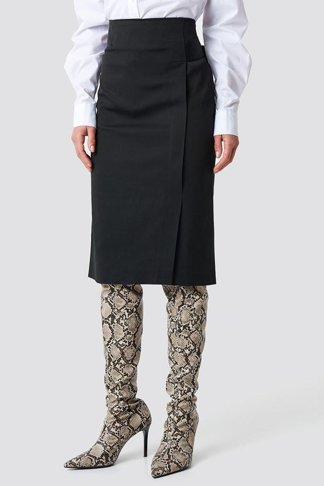 Binding Detail Midi Skirt Black