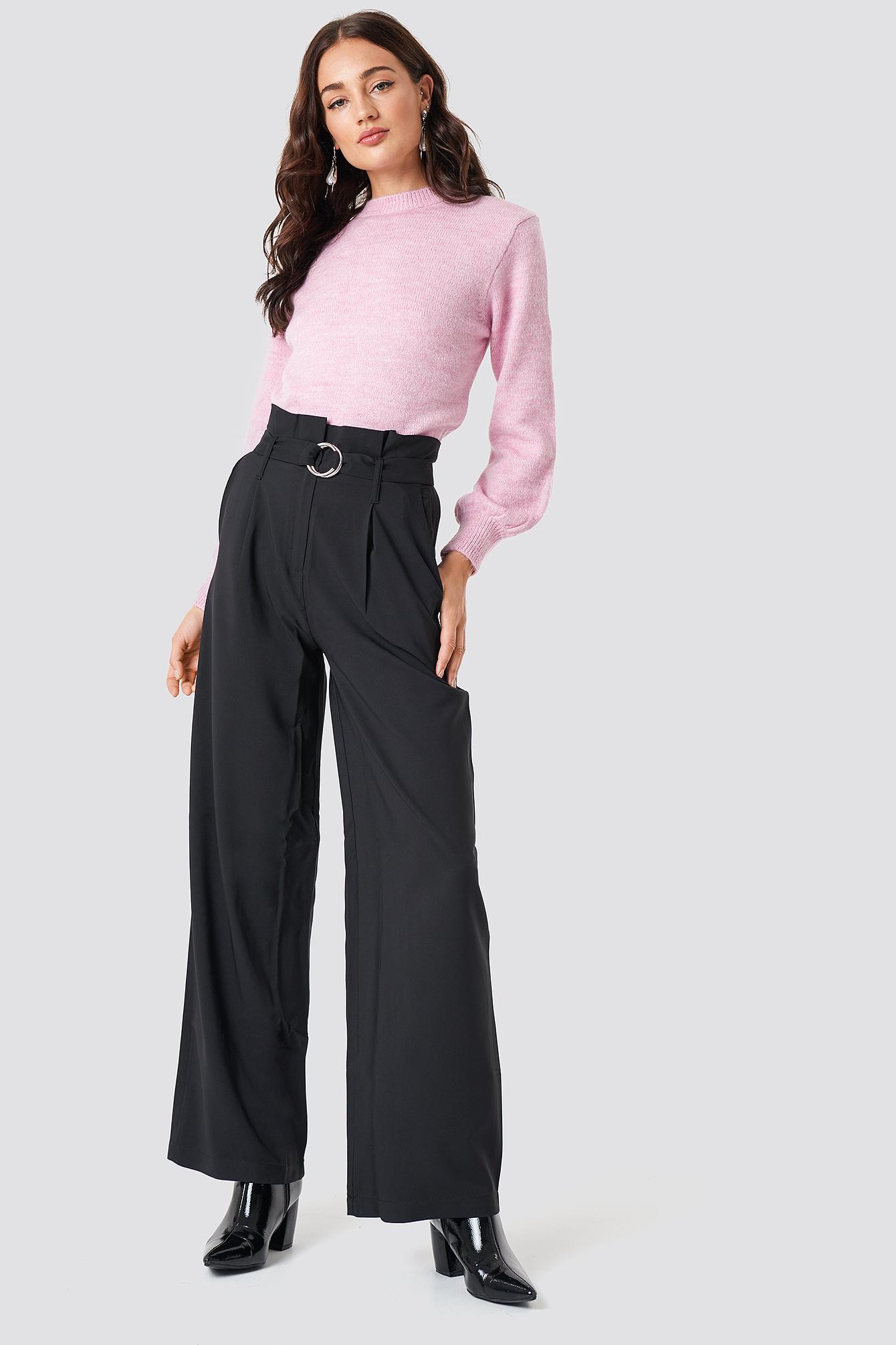 trendyol -  Binding Detail Trousers - Black