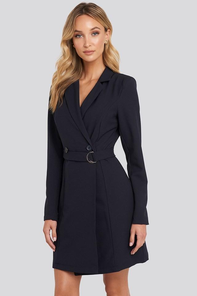 Binding Detailed Blazer Dress Navy