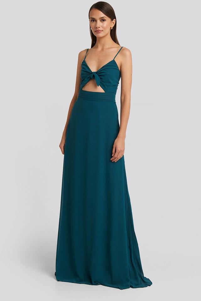 Binding Detailed Evening Dress Duck Green
