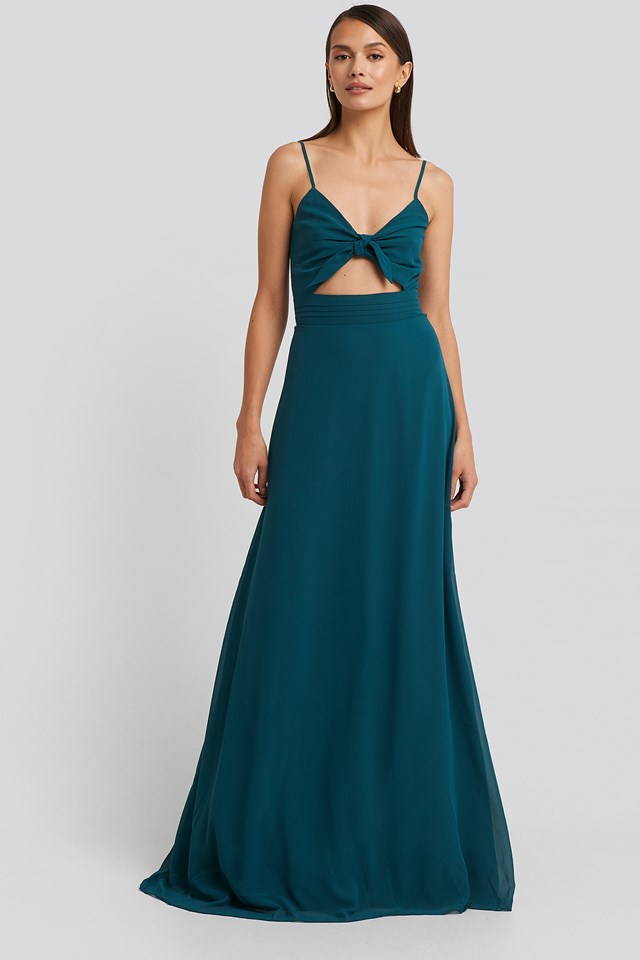 Binding Detailed Evening Dress Duck Green