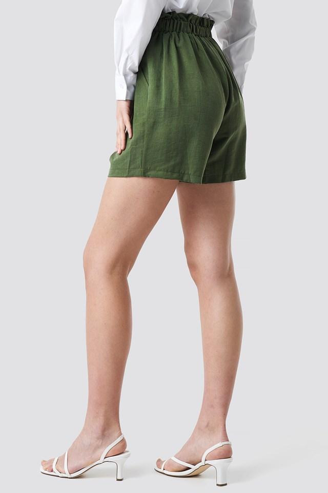 Binding Detailed Lyocell Shorts Khaki