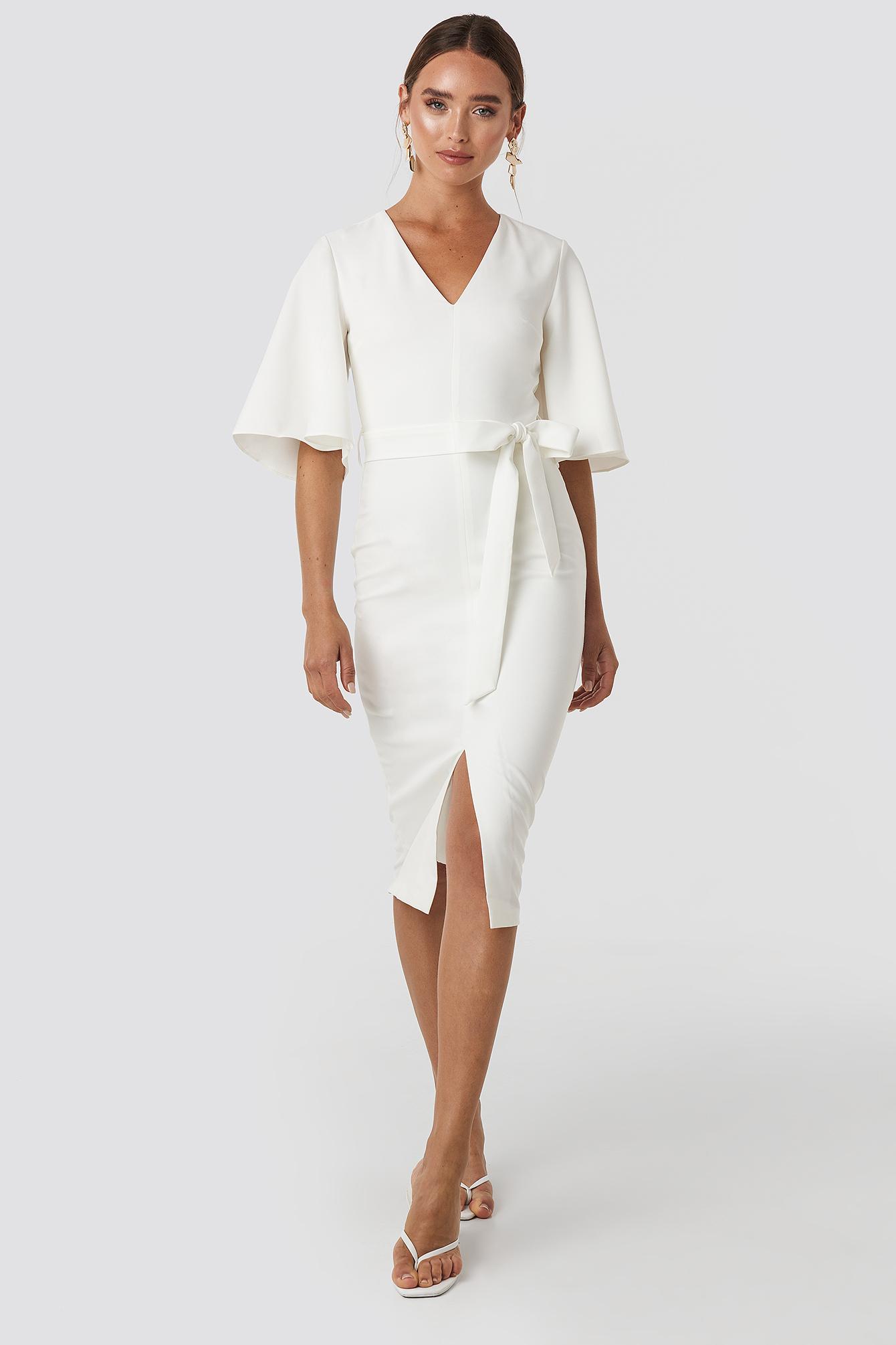 Binding Detailed Midi Dress Biały by Trendyol