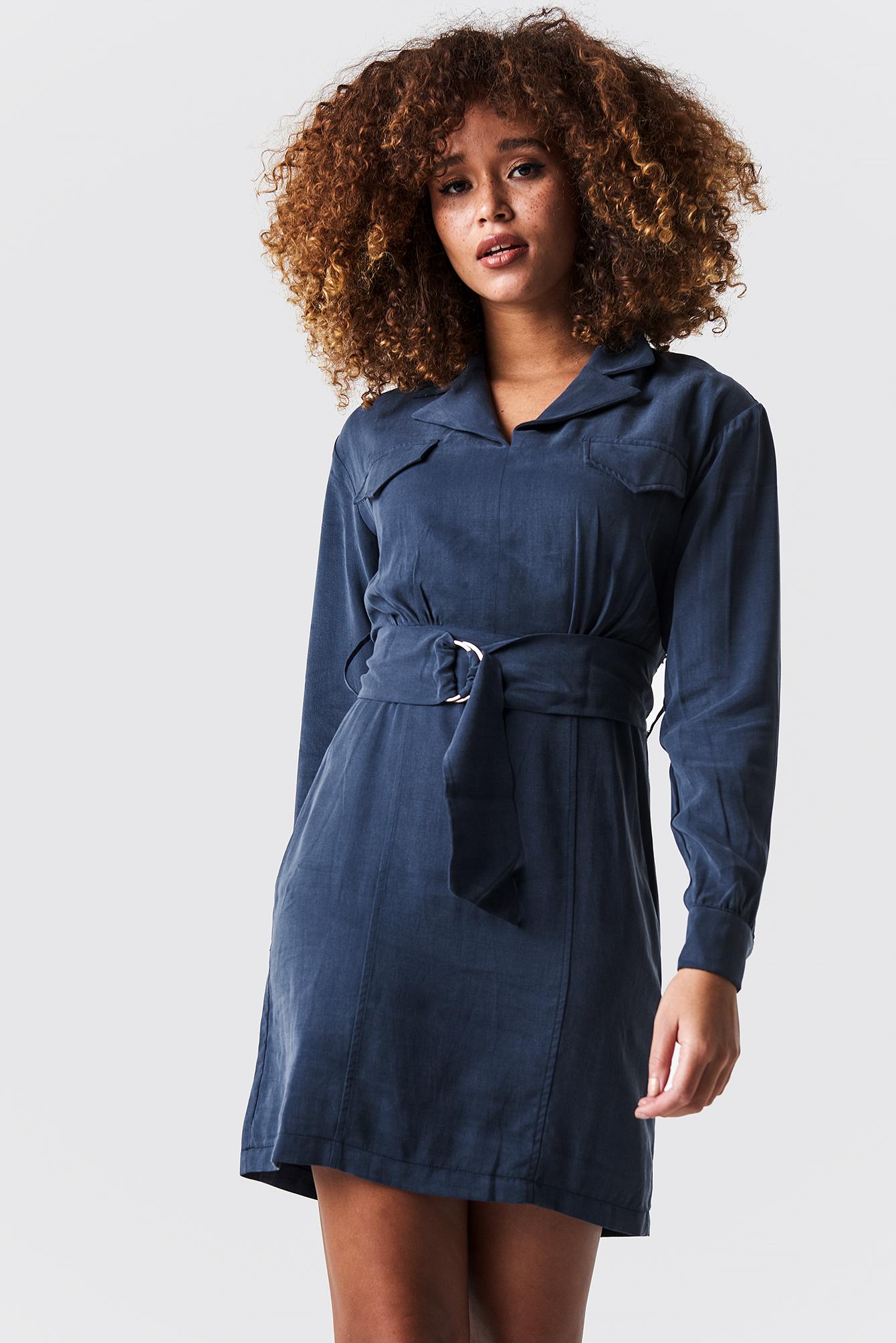 TRENDYOL Binding Detailed Mini Dress - Blue in Navy