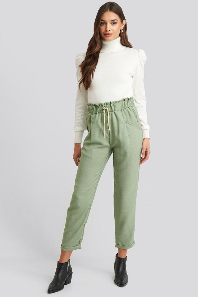Binding Detailed Pants Mint