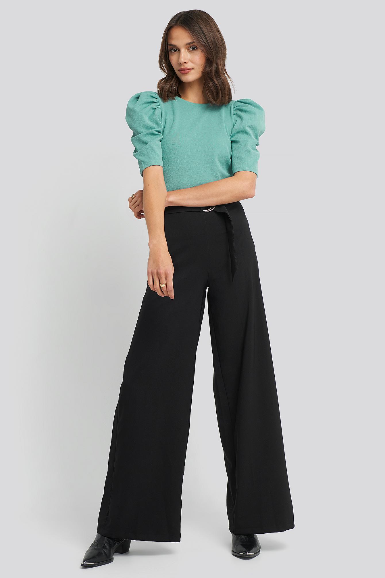 trendyol -  Binding Detailed Pants - Black