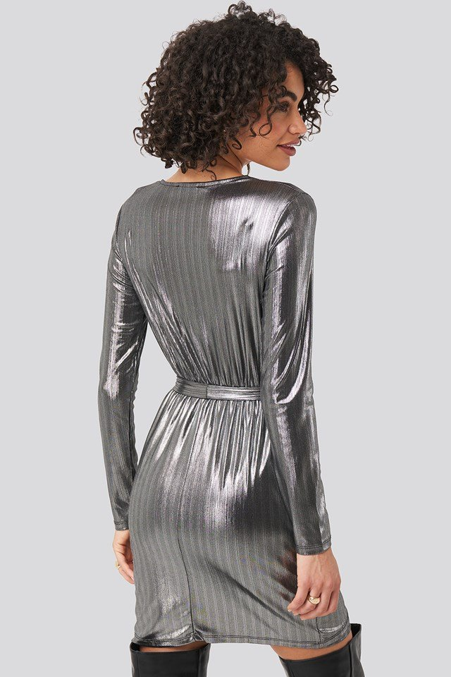 Binding Detailed Polished Mini Dress Anthracite