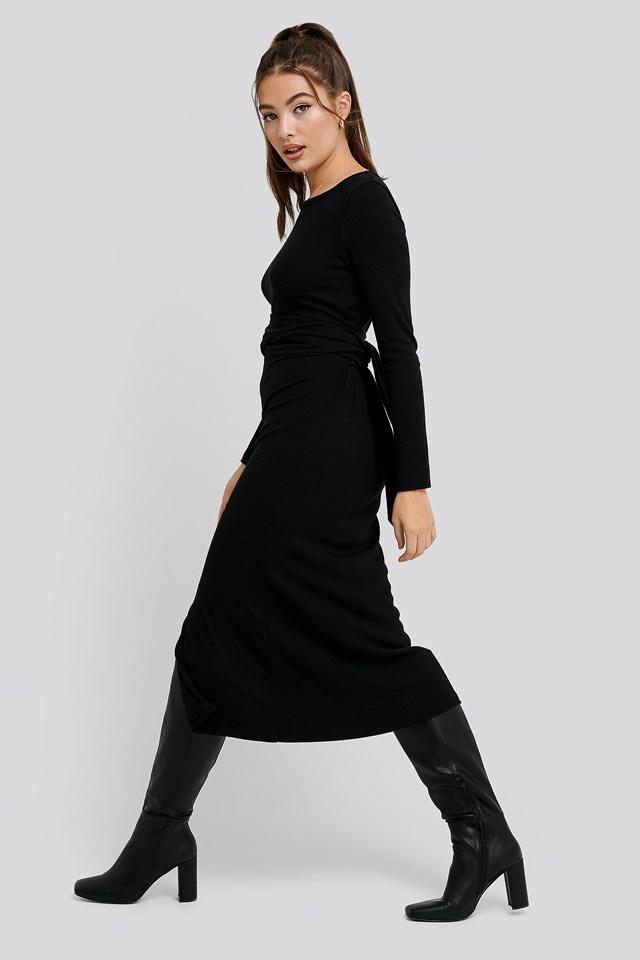 Binding Detailed Ribana Dress Black