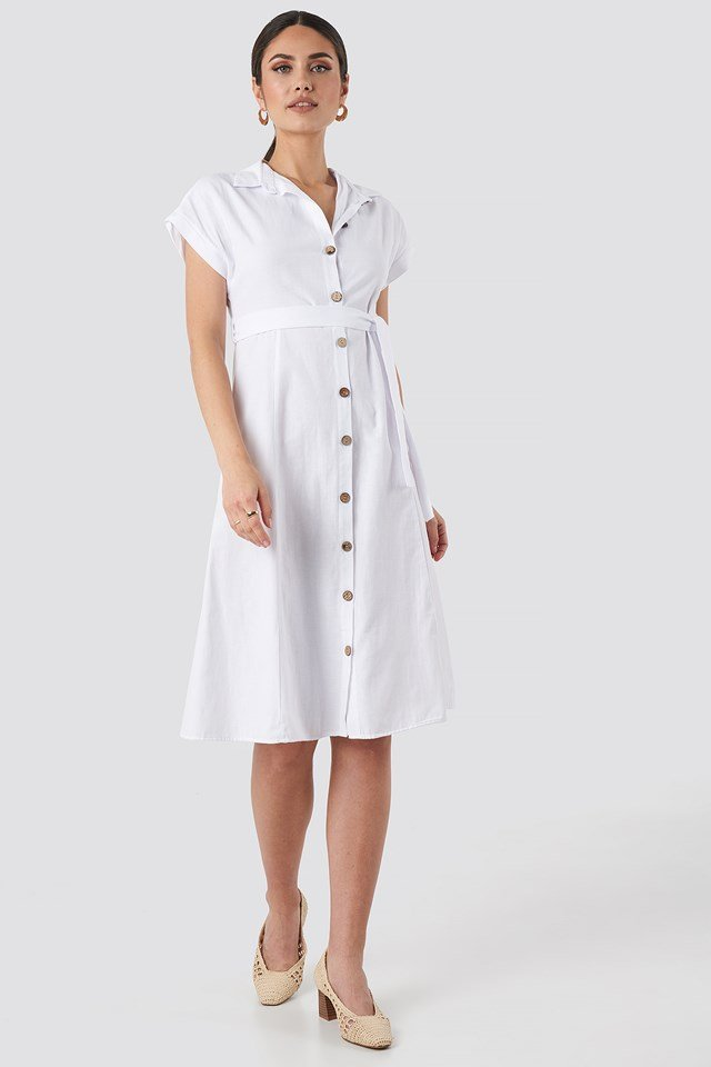 Binding Detailed Shirt Dress White