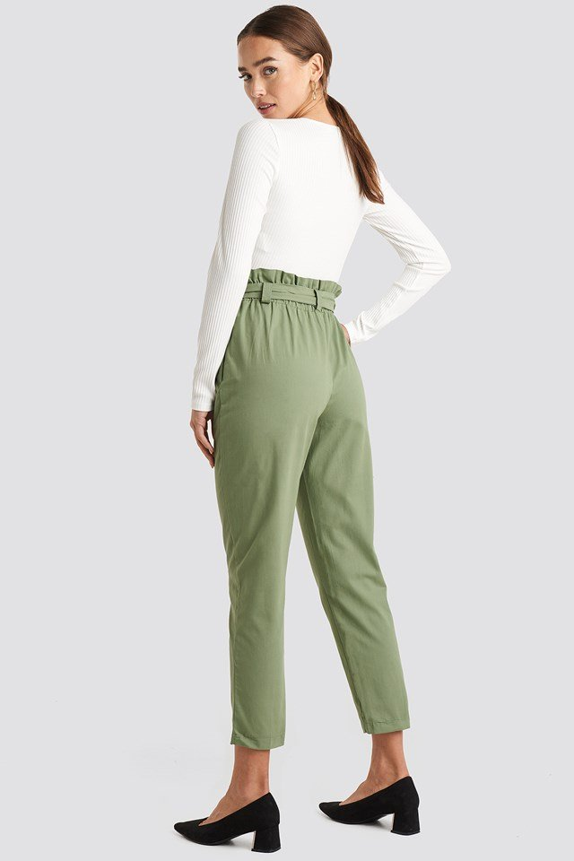 Binding Detailed Trousers Khaki