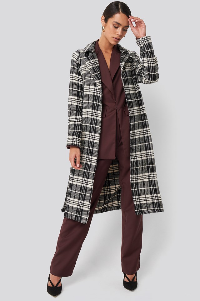 Black Check Coat Trendyol