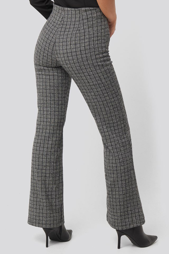 Black Plaid Knitted Trousers Black
