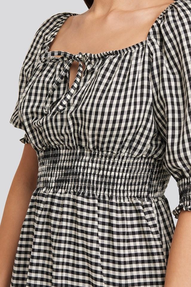 Black Plaid Pleated Mini Dress Black