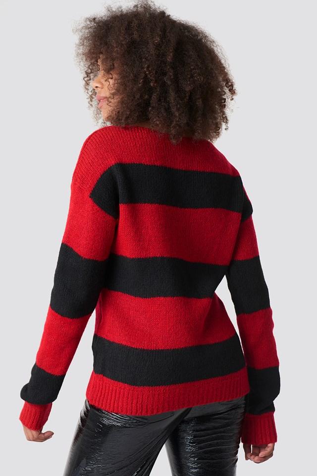 Block Stripe Wide Neck Sweater NA-KD.COM
