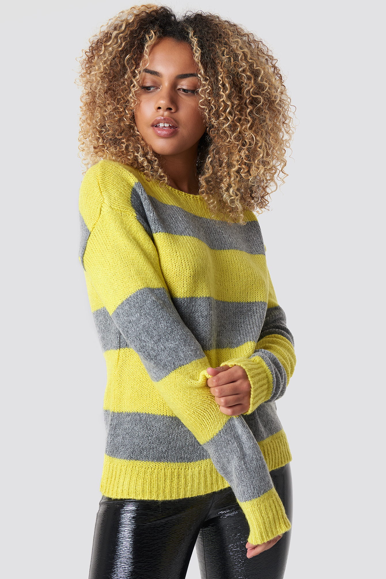 Block Stripe Wide Neck Sweater NA-KD.COM