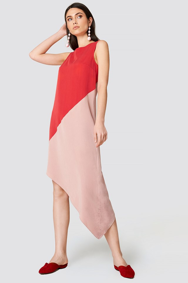 Blocked Asymmetrical Midi Dress Vermilion