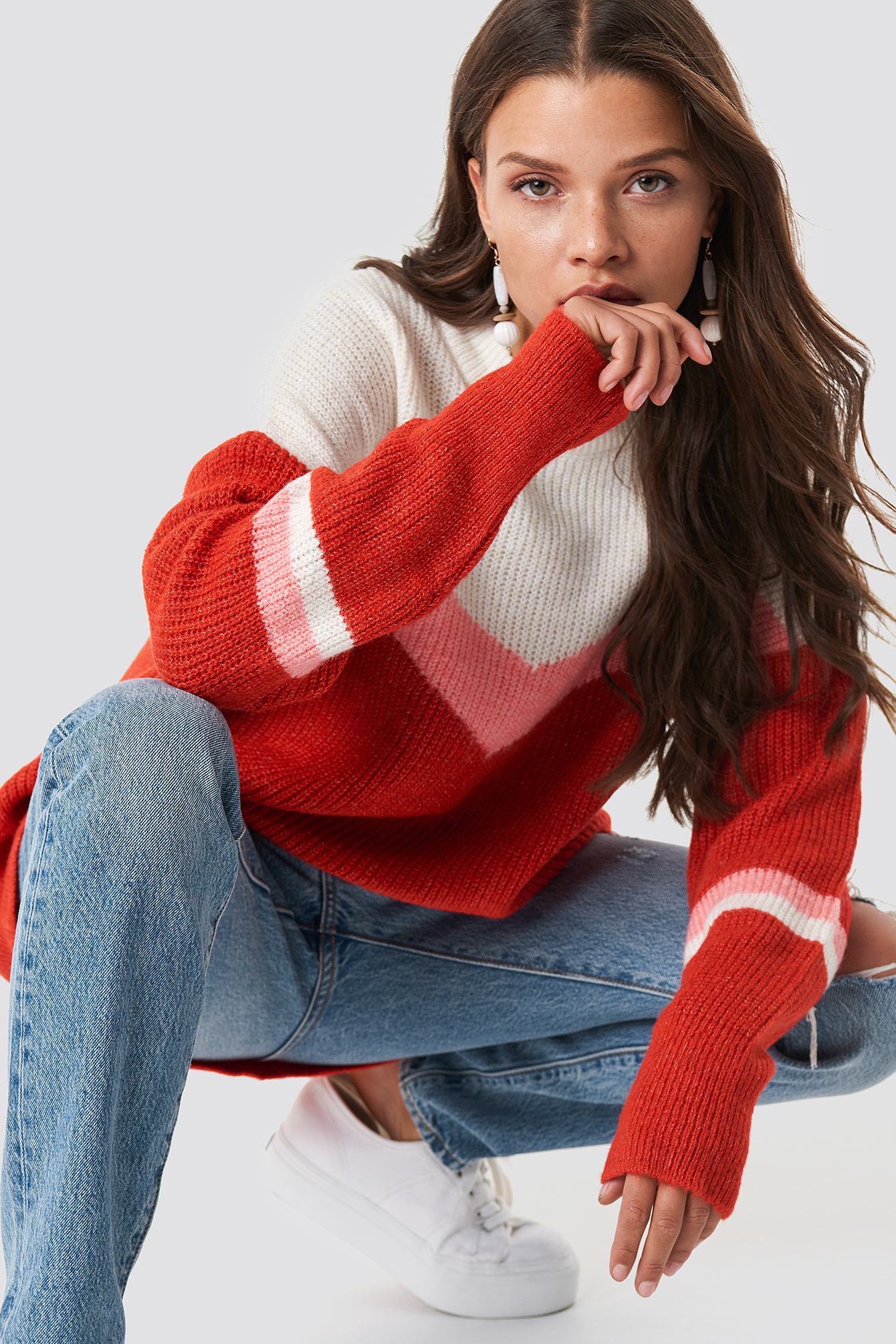 Blocked Color Knitted Sweater NA-KD.COM