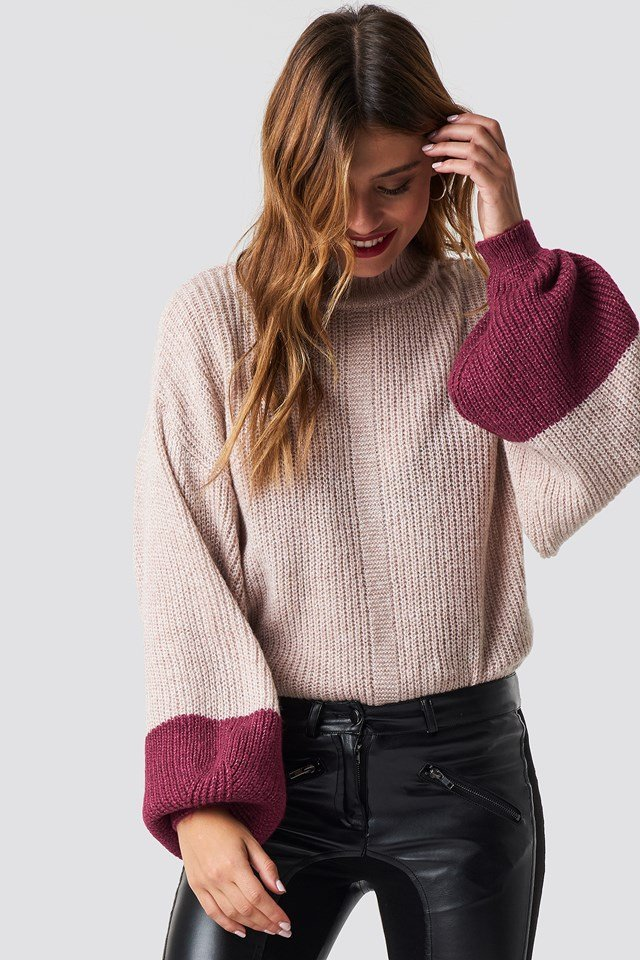 Blocked Hem Balloon Sleeve Sweater Powder Pink