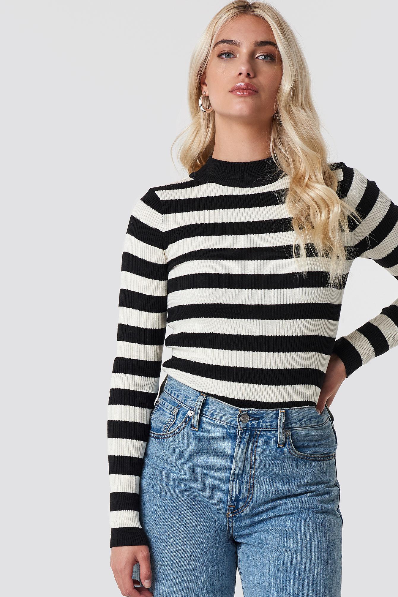 trendyol -  Blocked Knit Sweater - Black
