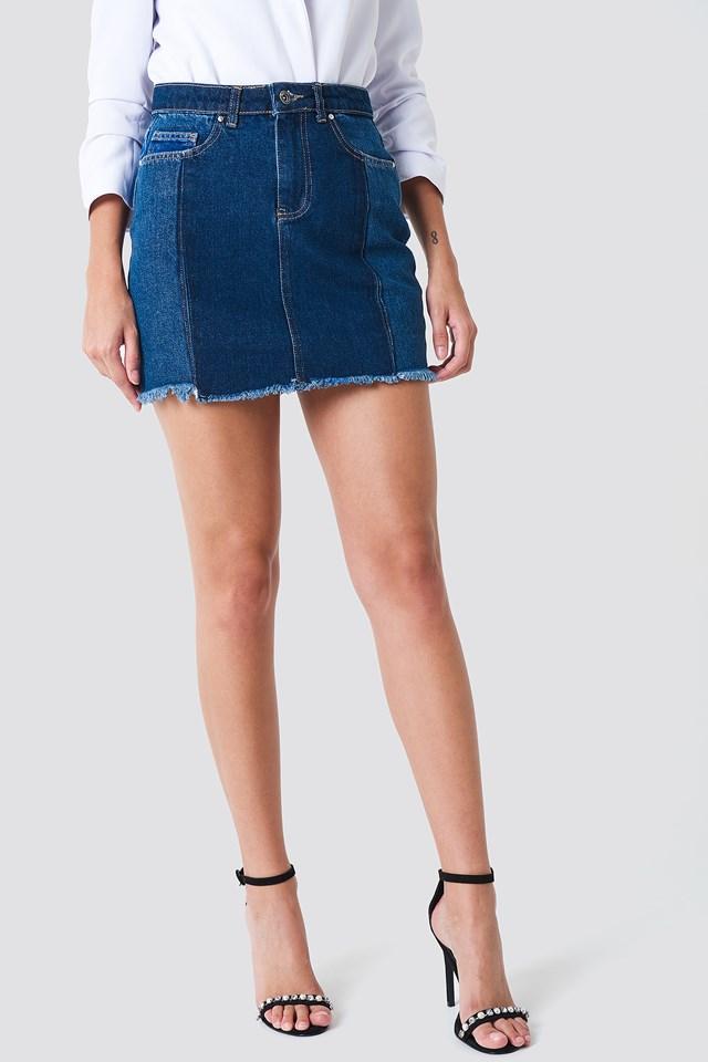 Blocked Midi Denim Skirt Blue