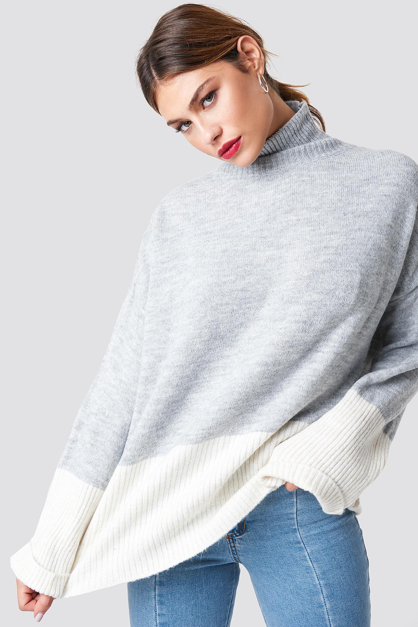 Blocked Turtleneck Knitted Jumper NA-KD.COM