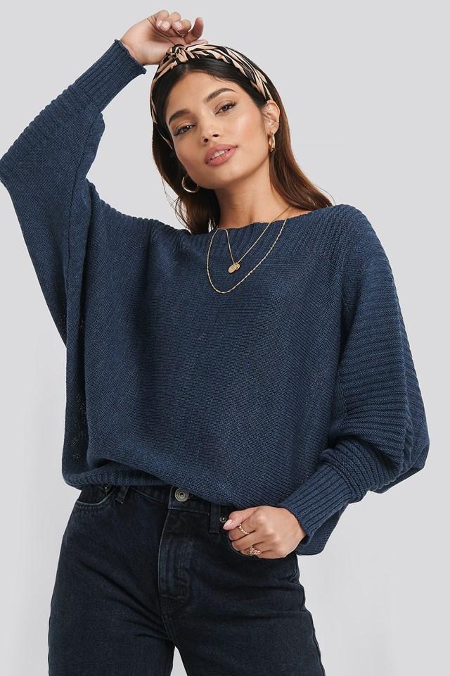 Boat Neck Sweater Indigo