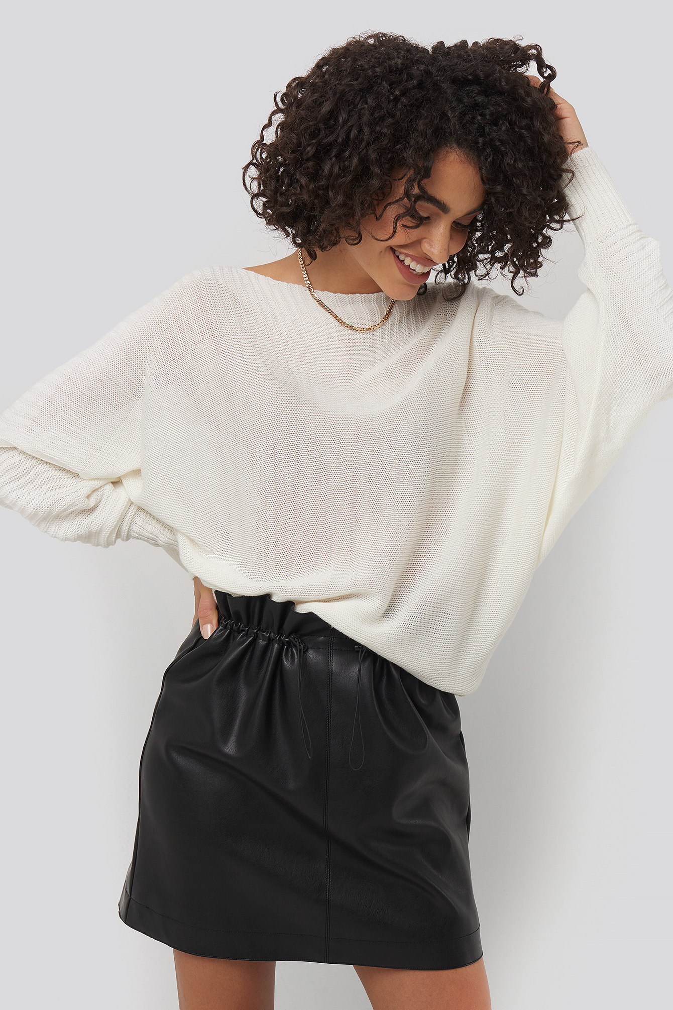 Ecru Boat Neck Sweater