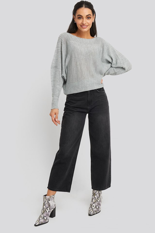 Boat Neck Sweater Gray