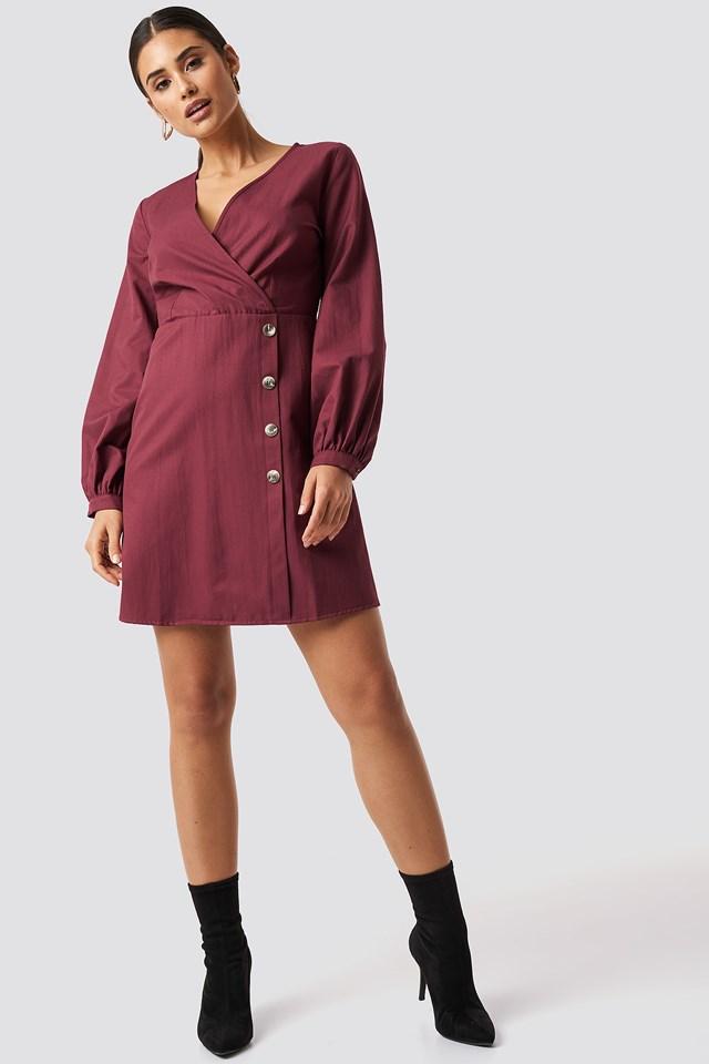 Bone Button Detailed Dress NA-KD.COM