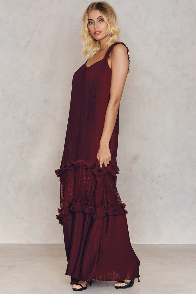 Bordo Maxi Dress Burgundy